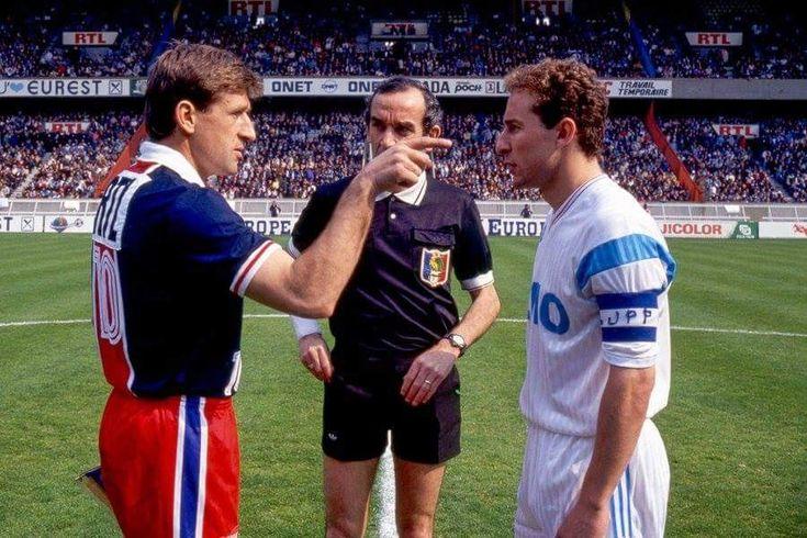 """1991 quartos, """"Le Primier Prince du Parc"""" Safet Susic de PSG v Jean Pierre Papin de Olympique Marseille ."""