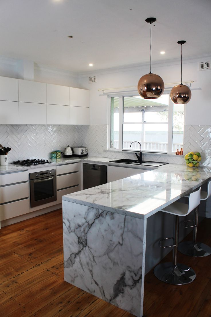 "Benchtops - Laminex ""Carrera Marble Diamond Gloss"" Panels - Hafele 2 Pack Painted ""Polar White Satin Finish"""
