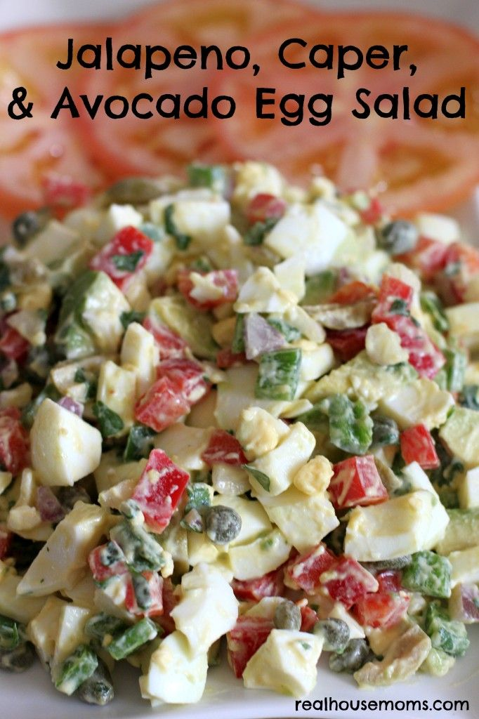 Jalapeno, Caper, & Avocado Egg Salad combines hard boiled eggs and a