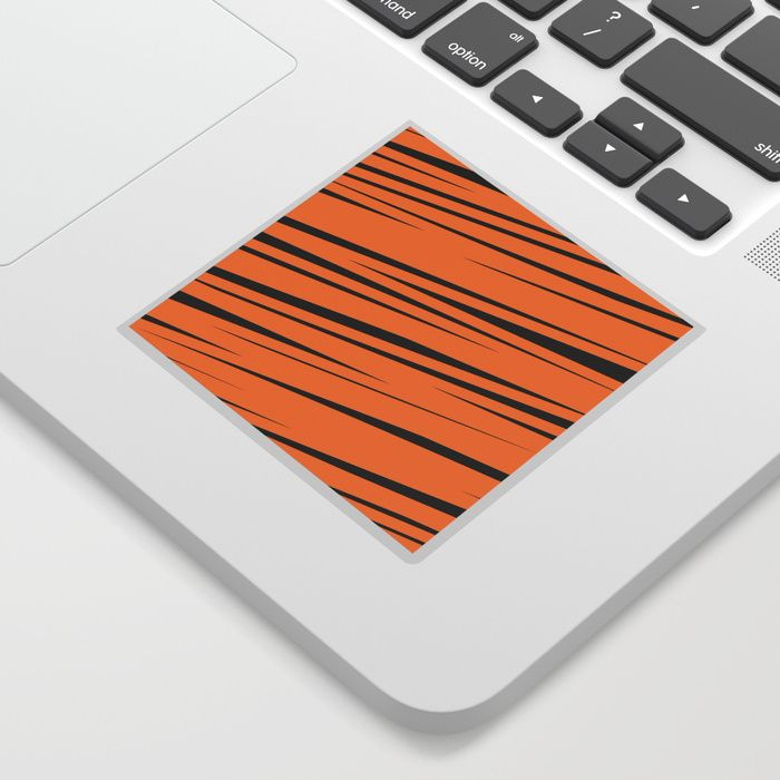 $3.99 Stickers can make anything cool - like laptops, notebooks, birthday cards, phones, doors or windows. Available in two styles - white or transparent background. #sticker #stationery #lines #stripes #scribble #doodle #modern #creative #pattern #orange #black #abstract #buyart #society6 #gift #giftideas