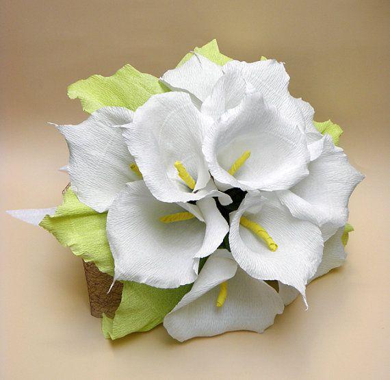 Bridal Bouquet/ Wedding Calla Lily Flowers Bouquet/ Rustic Wedding/Wedding Decor/Wedding Centerpiece/Paper Calla Lily/PAPER Wedding Bouquet