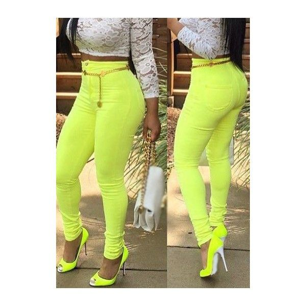 Rotita Neon Yellow Pocket Design High Waist Skinny Pants featuring polyvore, women's fashion, clothing, pants, yellow, high-waist trousers, high waisted skinny pants, green skinny pants, zipper pants and yellow pants