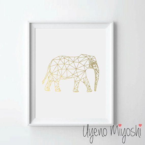 Poligonal elefante hoja de oro impresión, impresión de oro, impresión…