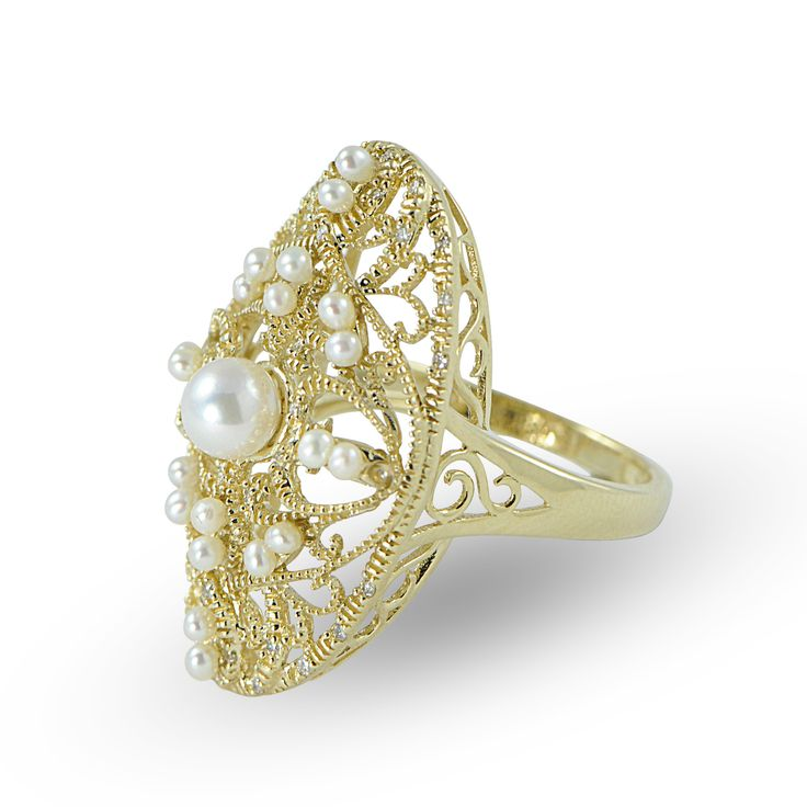Imperial Pearls Black Pearl Ring With Diamonds