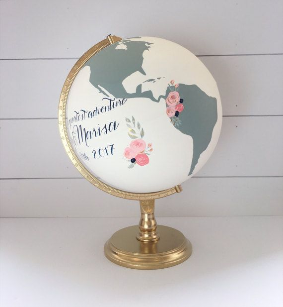 """Globe, Wedding Guestbook, World Globe,  CUSTOM Color and Quote Home Decor and Guest Book, Floral, Hand Painted 12"""" Large"""