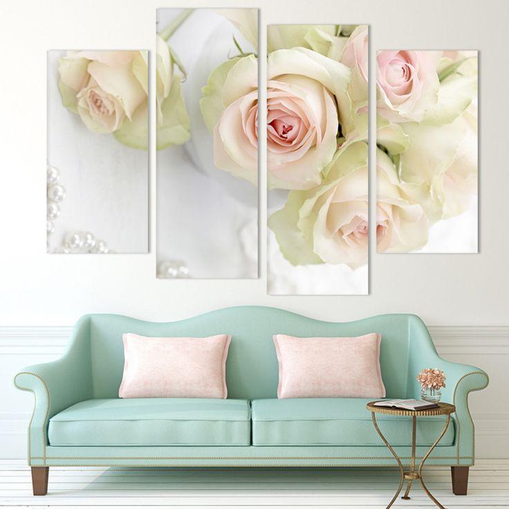 2016 sanat tasarım 4 paneli beyaz gül Çiçek Büyük HD resim Modern Ev Duvar Dekorasyonu Tuval Boyama Ev Süslemeleri quadros(China (Mainland))
