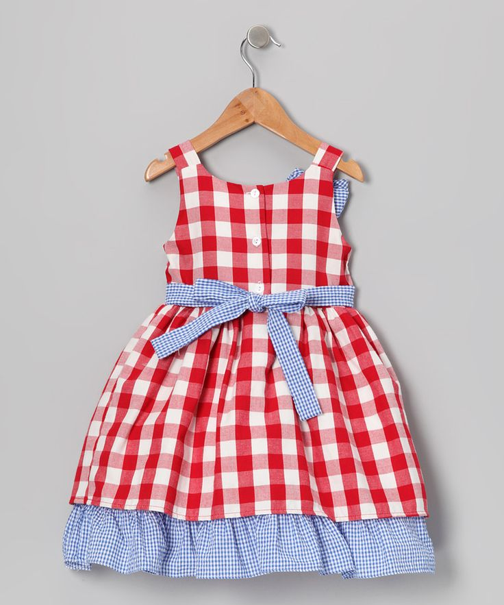 red gingham outfit for girl | Blue & Red Gingham Bow Ruffle Dress - Toddler & Girls | Daily deals ...