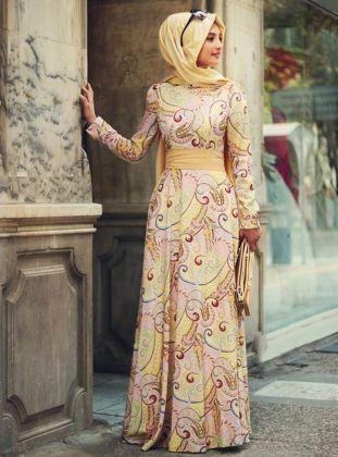 Şal Desenli Elbise - Sarı - Gamze Polat