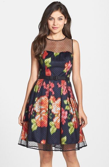 Eliza J Dot Mesh Overlay Charmeuse Fit & Flare Dress (Regular & Petite) available at #Nordstrom