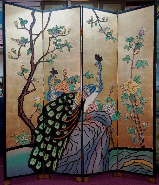 90 best peacock screens images on pinterest peacocks for Painted screens room dividers