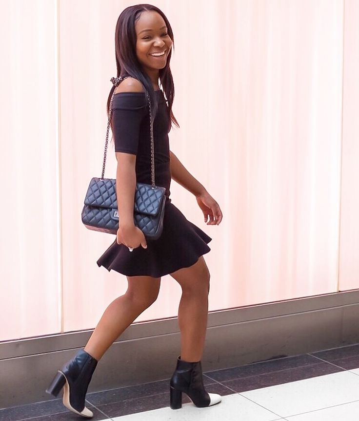 Off-the-shoulders + mini skirt + booties