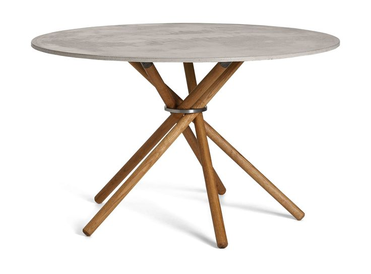 EH 4 - Dining Table  Classic concrete table top, oiled oak legs and steel ring. #diningtable #table #concrete #concretetable  #steel #oak #oaklegs #eberhartfurniture