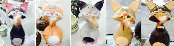 Ceramic Cats by Carol Holmes Kerr $70 each available at Ottawa's After Stonewall - 370 Bank Street.
