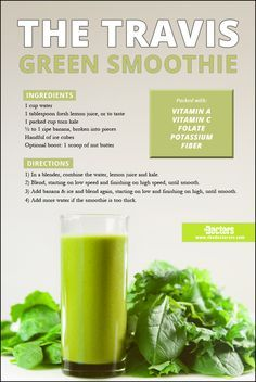 What's packed with vitamins A and C, folate, potassium, and fiber? Dr. Travis' favorite green smoothie! #TravisStork #kale #banana #fiber #lemon #healthy #thedoctors
