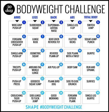 La séance d'entrainement Défi 30 jours Bodyweight Qui brûlera Votre Meilleur corps jamais | Shape Magazine