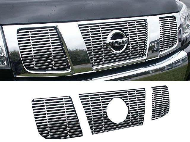 QAA PART SGB24515 Fits PATHFINDER/TITAN 2004-2007 NISSAN (3 Pc: Stainless Steel Billet Grille Overlay, 4-door, SUV) SGB24515