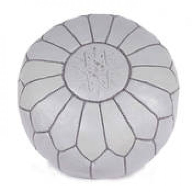 Marrakech Leather Pouf - Grey with Dark Grey details $179 .00 NZD including delivery