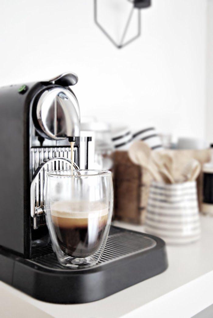 Coffee machine, white walls