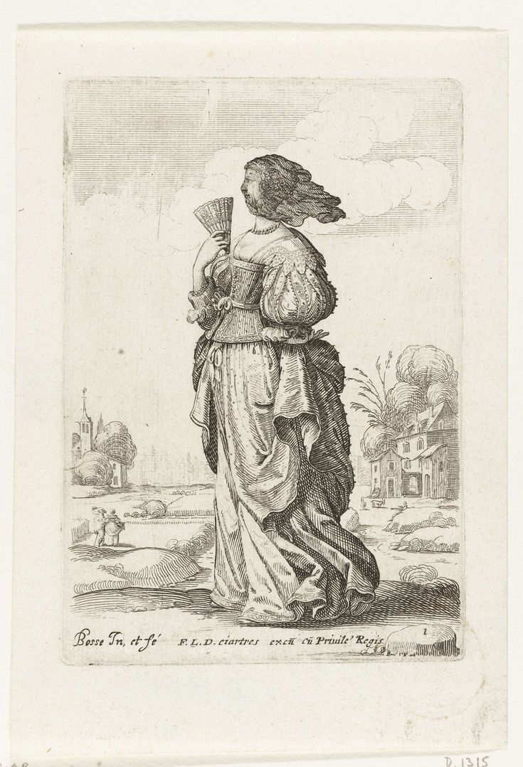 Abraham Bosse   Franse edlvrouw met sluier, gekleed volgens de mode ca. 1629, Abraham Bosse, François Langlois, 1629   Franse dame met zwarte sluier over het gezicht, een vouwwaaier in de rechterhand. Landschap op de achtergrond. R.o. genummerd: 1(uit serie Le Jardin de la Noblesse Françoise...1629)
