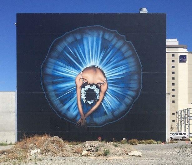 Dancer in blue, street art, mural | by Owen Dippie, Christchurch, NZ (LP)