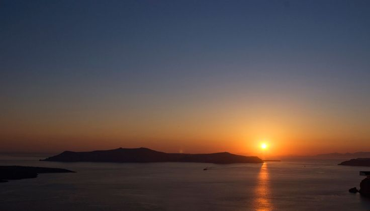 Beautiful sunset in Fira, Santorini