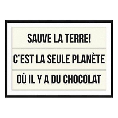 Affiche encadrée encadrée Chocolat écru et noir 70 x 1,6 x 50 cm