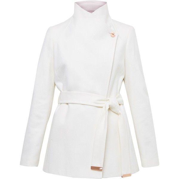 Ted Baker Elika Short Wrap Coat ($305) ❤ liked on Polyvore featuring outerwear, coats, cream, women, white coat, ted baker coat, short white coat, lapel coat and metallic coat