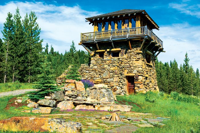 Inspired by U.S. Forest Service fire towers built in the region in the 1920s and 1930s. West Fork Camp within Big Sky's Yellowstone Club. Built by Yellowstone Traditions and designed by Pearson Design Group