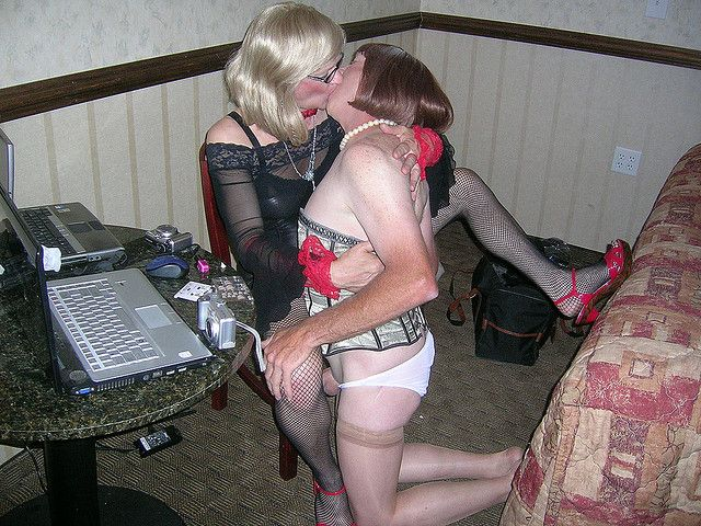 Two girls kissing on pool table 4