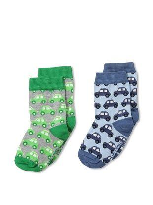 29% OFF Melton Kid's 2-Pack Car Socks (Blue/Green)