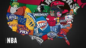 This is a picture of a map full of NBA basketball teams all teams located in the United States. I like to learn about sports because I like to learn about where basketball arenas are located at.
