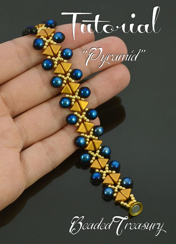 Pyramid - beading tutorial, kheops cabochon bead pattern, beaded bracelet pattern, beadweaving, seed beads / TUTORIAL ONLY