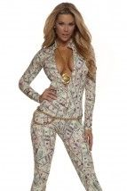 Money Print Long Sleeves Sexy Catsuit Costume