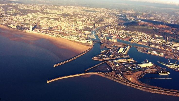 """""""Our South Wales crew flying over Swansea Bay."""" - Wales Air Ambulance"""