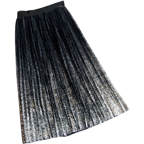 Silver Dip Dye High Waist Lace Pleated Skirt ($27) ❤ liked on Polyvore featuring skirts, high waisted lace skirt, lace skirts, lace pleated skirt, lacy skirt and pleated skirt