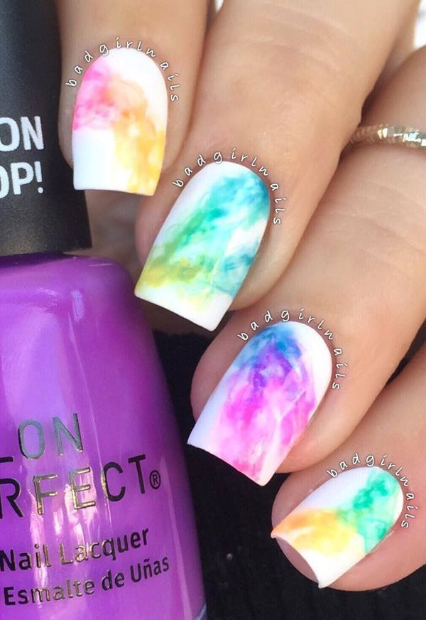 If you're trying the rainbow nail art design but you want it in a subtle way, you can definitely choose this smokey design. Guess smokey is not just for the eyes, ehh?
