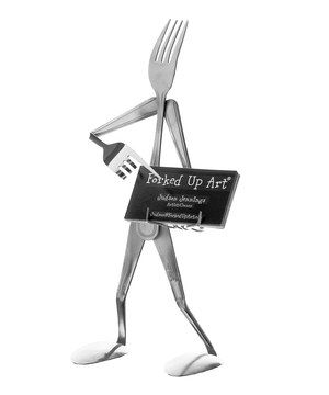 Crafted from stainless steel utensils in the shape of a figurine, this little business card holder makes a charming cubicle companion.