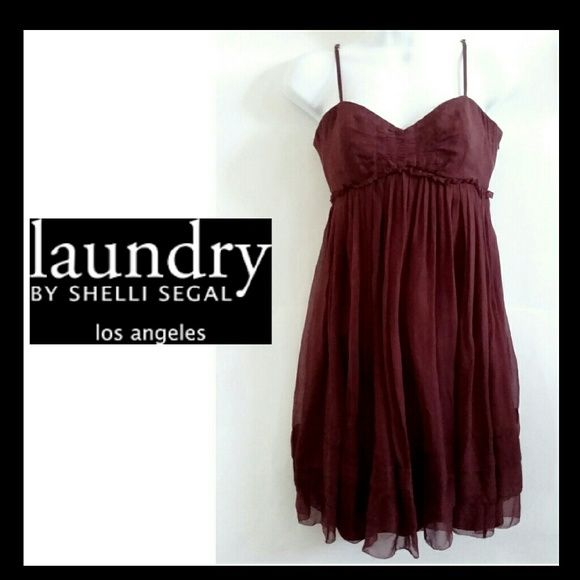 Just in Laundry by Shelli Segal silk dress Beautiful wine colored silk sundress by Shelli Segal with ruffled bust, adjustable straps and fully lined. NO TRADES PLEASE! OFFERS WELCOME THROUGH OFFER FEATURE ONLY PLEASE! Laundry by Shelli Segal Dresses