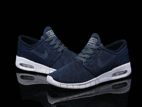Nike SB Stefan Janoski Max Midnight Navy White Mens Womens Shoes