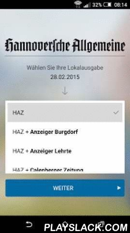 """HAZ E-Paper  Android App - playslack.com ,  Mit dem HAZ E-Paper steht Ihnen die elektronische Ausgabe der HAZ als E-Paper mit allen Inhalten der gedruckten Tageszeitung überall auf Ihren Android-Geräten zur Verfügung.Ganz genau lesenTippen Sie auf einen Artikel – und lesen Sie ihn ganz bequem in der Textansicht. Mit nur einem Tippen auf den """"Zurück""""-Button gelangen Sie wieder zum Überblick der gesamten Seite. Mit der E-Paper-App können Sie die Seiten auch zoomen – und sich Ihre HAZ ganz nah…"""