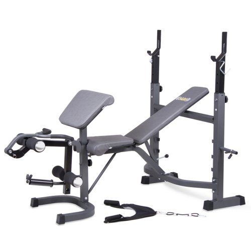 Body Champ BCB5860 Olympic Weight Bench with Preacher Curl, Leg Developer, and Crunch Handle - Weight Benches at Hayneedle