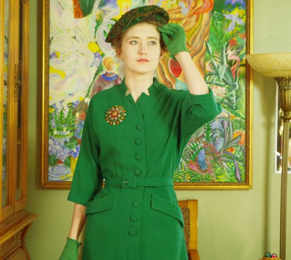 Elegant 50's Forest Green Wool Dress . Classic New Look Vintage Hip Pocket Style . Ladies Who Lunch to Office Chic . Sumptuous  Jewel Tone .