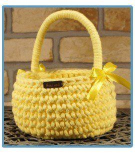 ręcznie robiony koszyk galina handmade ze sznurka bawełnianego