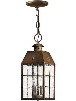 Entry Lighting. Aged Brass Nantucket Hanging Porch Light With Clear Seedy Glass