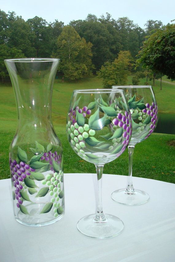 Hand Painted Green And Purple Grape Wine Glasses 20 Oz Wine