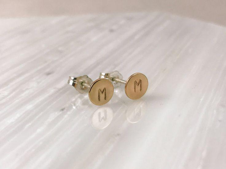Initial earrings 14k rose gold earrings 14k gold initial studs Shower gift Disc personalized Earrings Popular earrings Unique gift Charity by StellaGreyStudio on Etsy