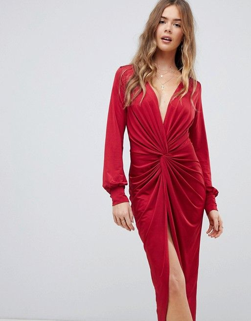 bc8fe1a1dcc Boohoo slinky twist front midi dress in red in 2019