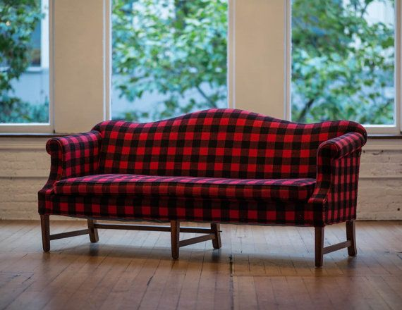 Vintage Camelback Sofa In Wool Buffalo Plaid Retro Black Red Couch Lumberjack Cabin Furniture Rustic Woodsy Home Decor