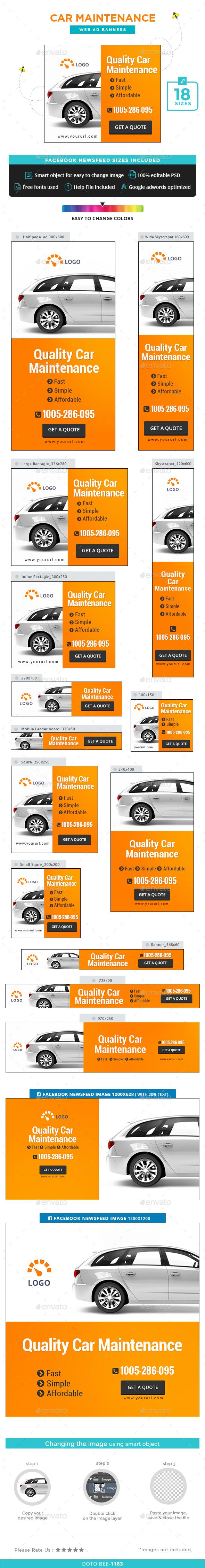 Car Maintenance Banners — Photoshop PSD #retargeting #social media • Available here → https://graphicriver.net/item/car-maintenance-banners/15233458?ref=pxcr