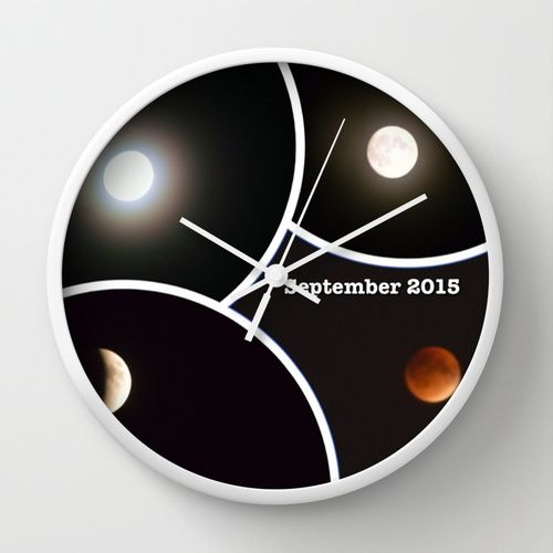 2015 Eclipse of the Red Moon Wall Clock by khoncepts.com  #space
